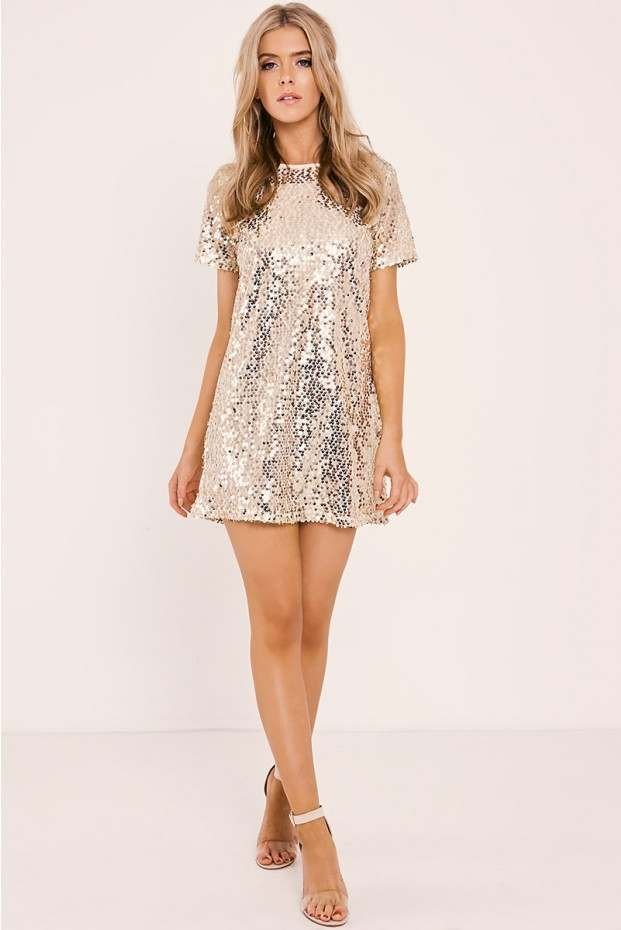 44f51e6fc3cd Madeline gold sequin t shirt dress in 2019   Vestidos   Sequin t ...