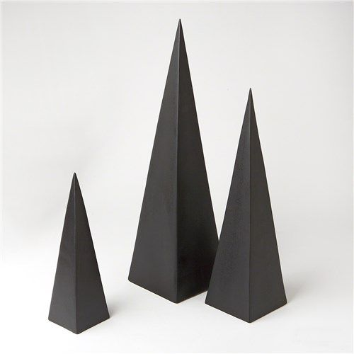 DwellStudio Pyramid Objet d'art Matte Black Set of 3