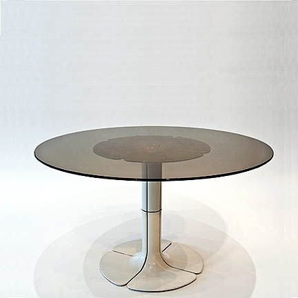 pierre paulin elysee table 1968 paint aluminum base smoked glass top h x 31 5 inches 73. Black Bedroom Furniture Sets. Home Design Ideas
