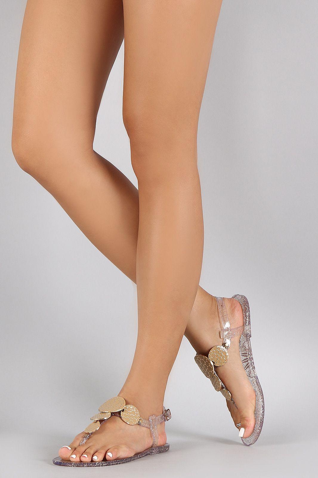 71ff45b03 Wild Diva Lounge Glitter Medallion Flat Sandal