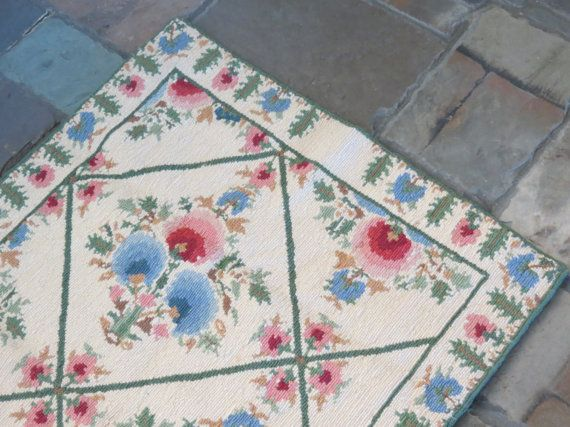 Wool Needlepoint Throw Rug from Greece by VintageCocobytheLake, $62.95