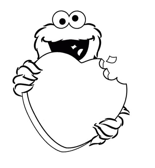 cookie monster cake bite love coloring page