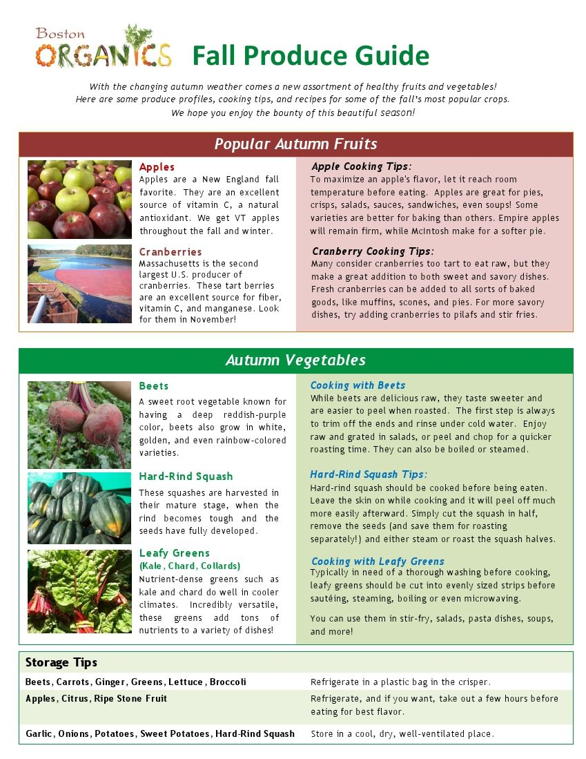 Produce Info Tips And Recipes Seasonal Produce Guide Healthy Fruits And Vegetables Fall Produce