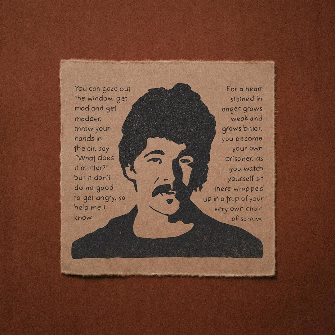 John Prine - Bruised Orange A portrait of John Prine with lyrics from the  chorus of the title track. These lyrics have been stuck in m… | John prine,  Bruises, Anger