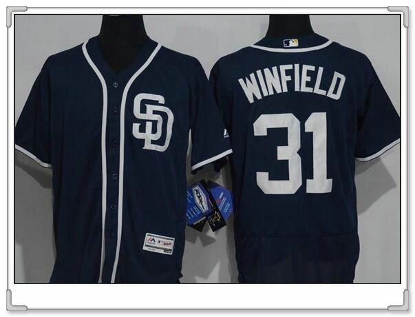Men's San Diego Padres #31 Dave Winfield Navy Blue Stitched MLB 2016 Majestic Flex Base Jersey