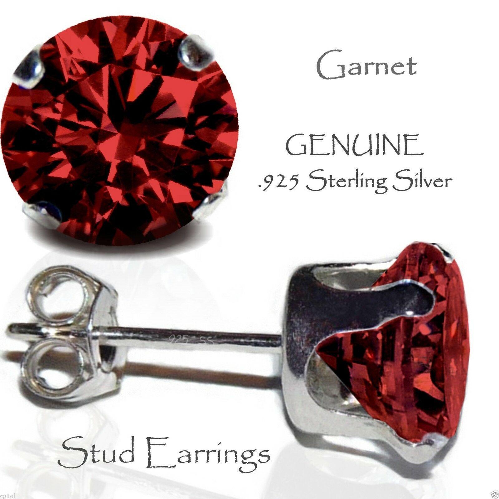 GARNET GEMSTONE STUD EARRINGS 925 Sterling SILVER 8mm Ladies Pair of Ear Studs