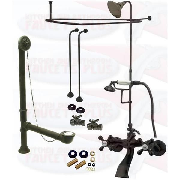 Oil Rubbed Bronze Clawfoot Tub Faucet Package Faucet Shower