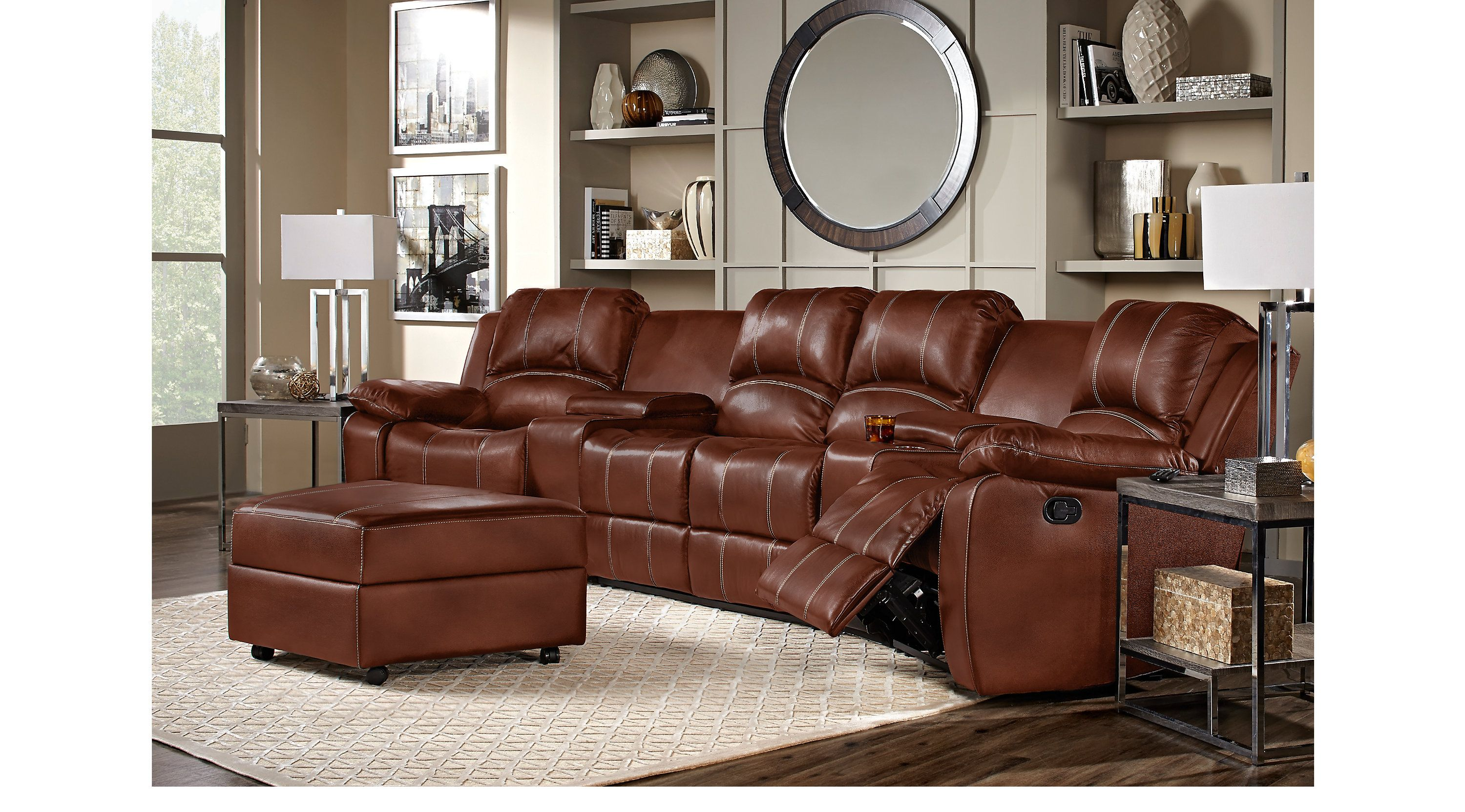 Leather Living Rooms Rooms To Go Fenway Heights Brown 6 Pc