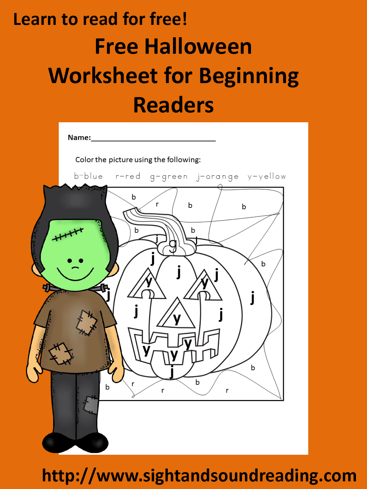Color By Letter Halloween Worksheet