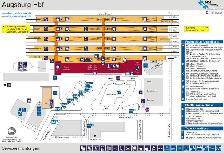 Augsburg hauptbahnhof map Maps Pinterest Augsburg and City