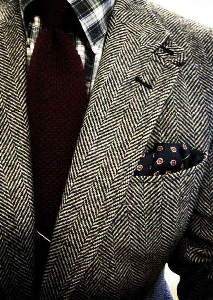 Mens black and white tweed jacket.