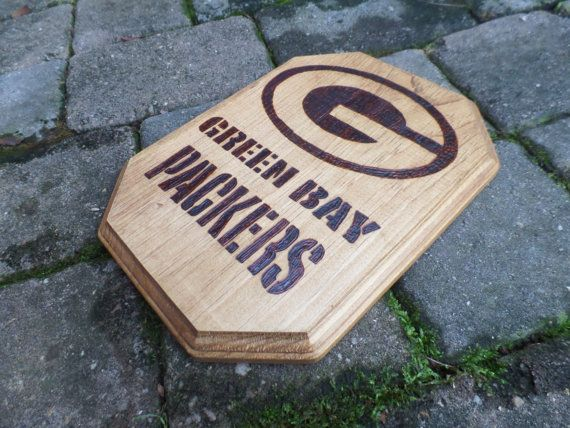 Packer Man Cave Signs : Green bay packers wood burned plaque nfl sign wooden man