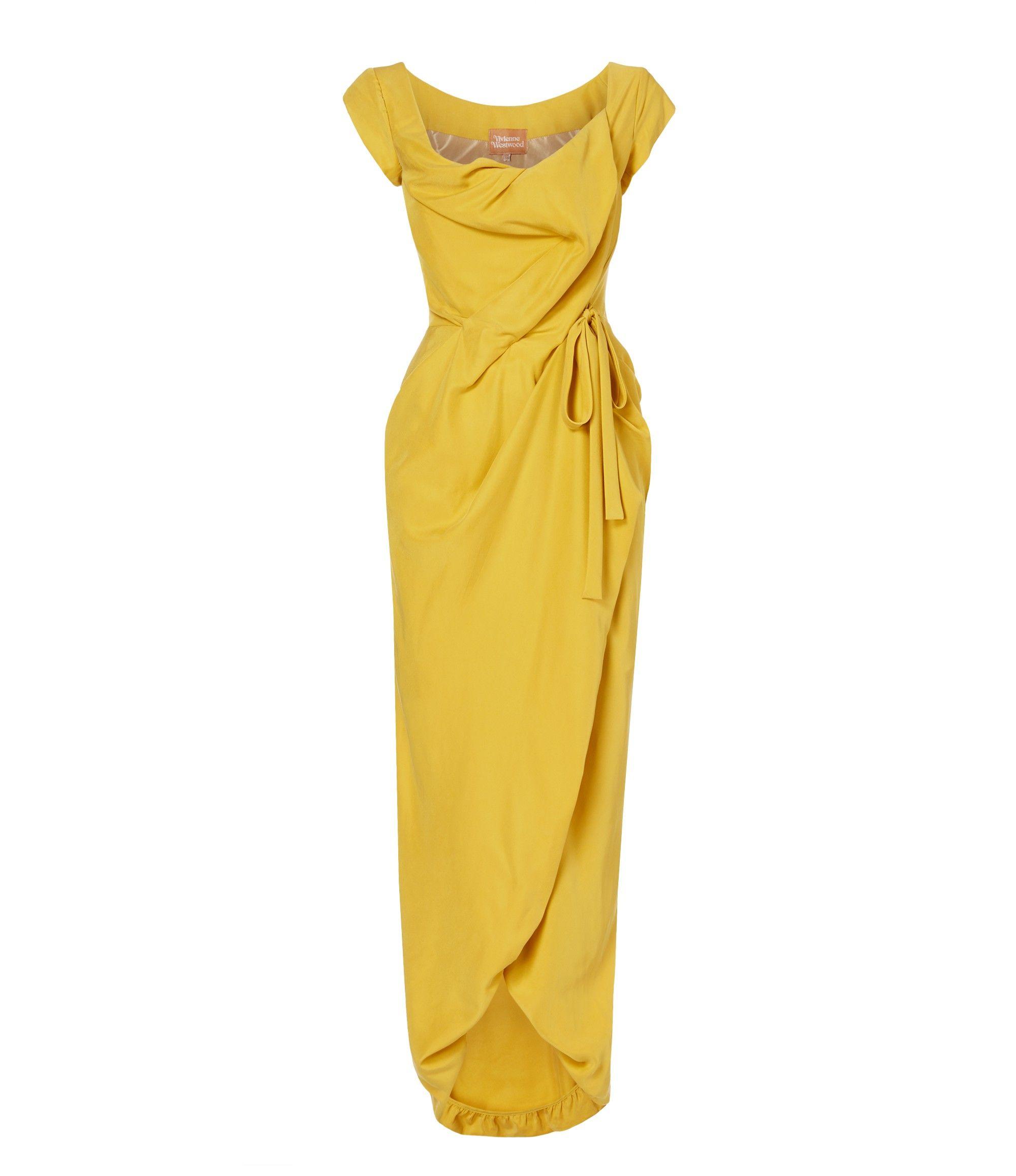 VIVIENNE WESTWOOD Yellow Long Dora Dress. #viviennewestwood #cloth #