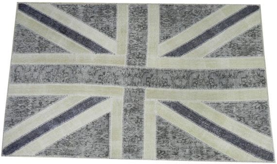 5x8 Ft Gray Beige British Flag Union Jack Design Patchwork Rug Made From Overdyed