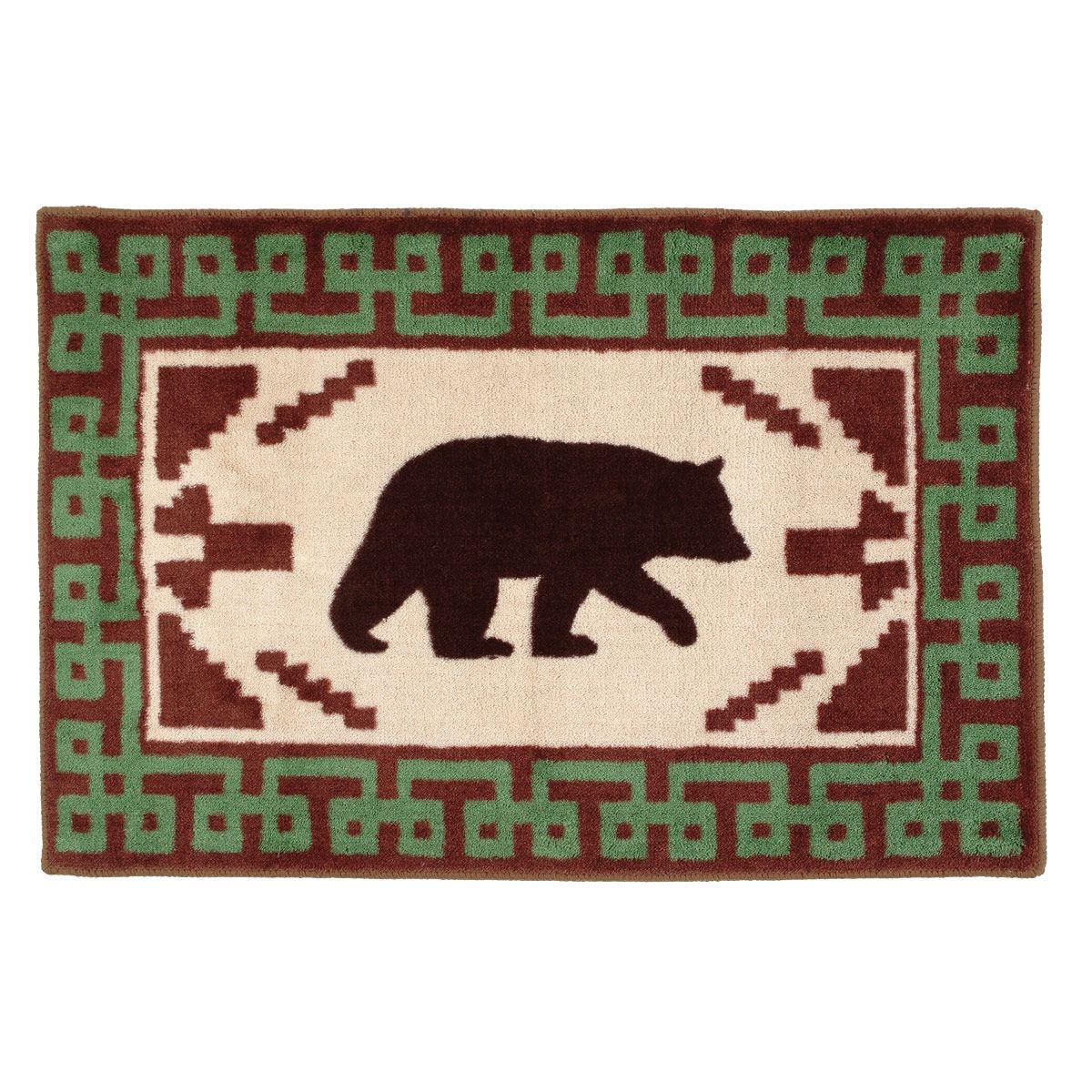 Southwest Black Bear Kitchen Bath Rug