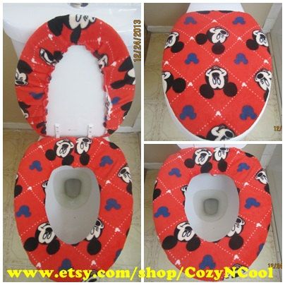 Cozy Butt Toilet Seat Lid Cover Set On Etsy 32 50 Mickey Mouse Bathroomtoilet