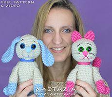 DIY Pattern e YouTube Video Tutorial Crochet del cane del cucciolo e Kitty Cat Kitten Amigurumi farcito peluche di Donna Wolfe da Naztazia