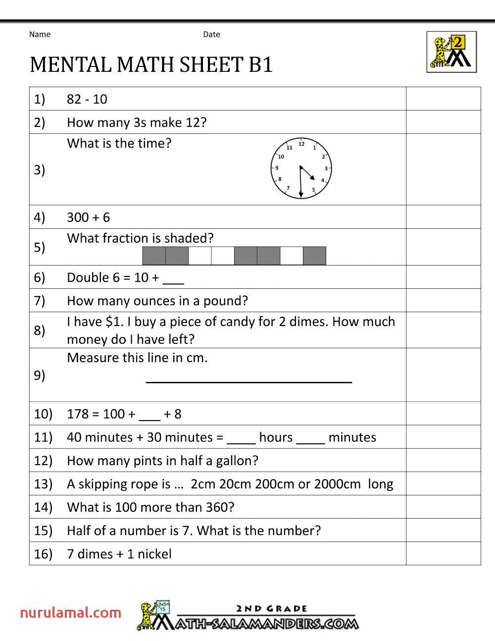 Mental Maths Worksheets For Class 1 Mental Math Mental Maths Worksheets Mental Maths Tests