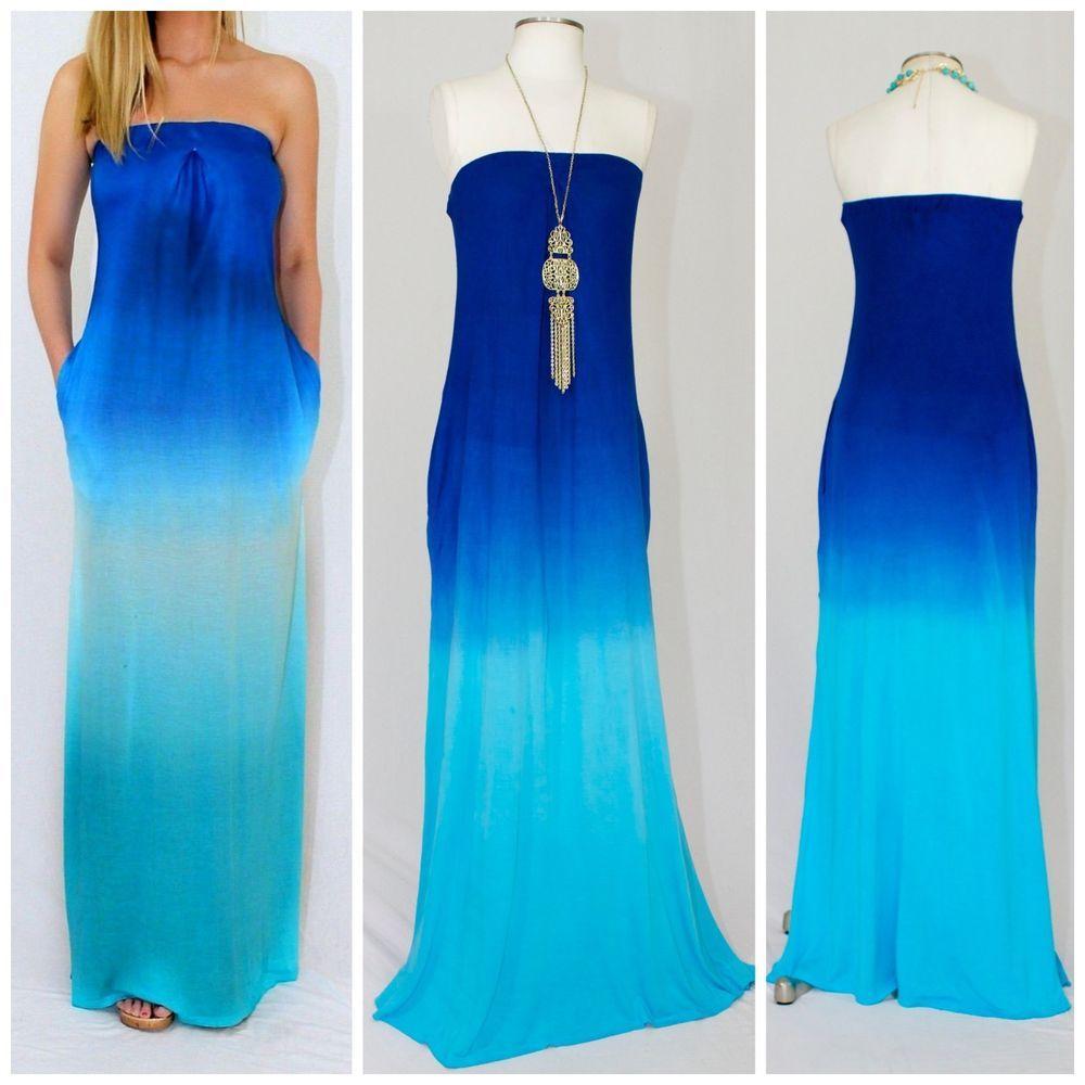 Details about &quotKarissa&quot Strapless Blue Ombre Tie Dyed Maxi Dress ...