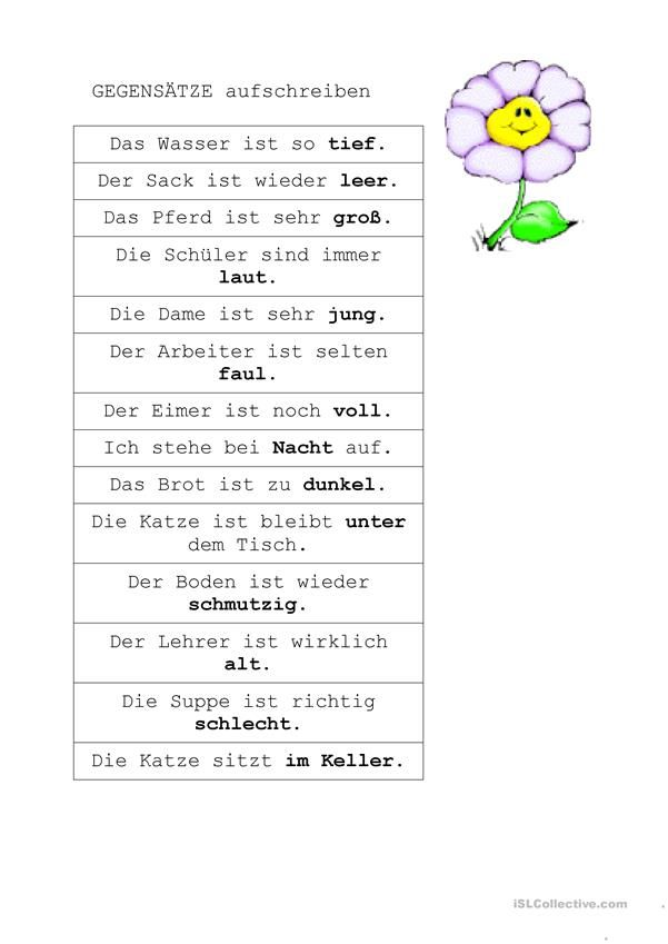 Gegensätze   Hallo, Kinder, wir lernen Deutsch   Pinterest ...
