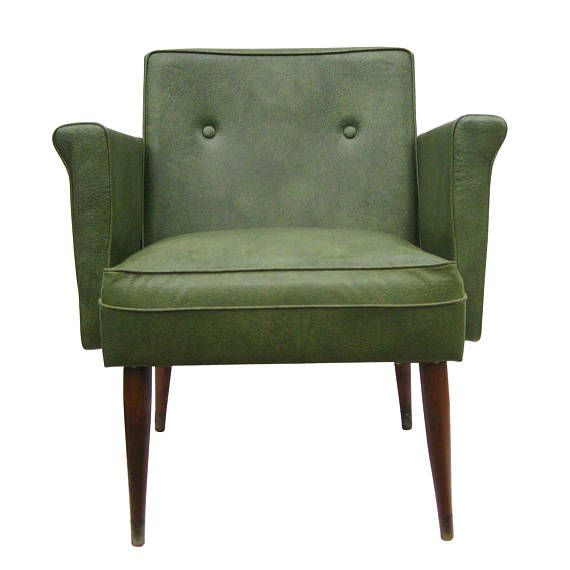 Lovely Mid Century Modern Vintage Green Vinyl Accent Arm Chair