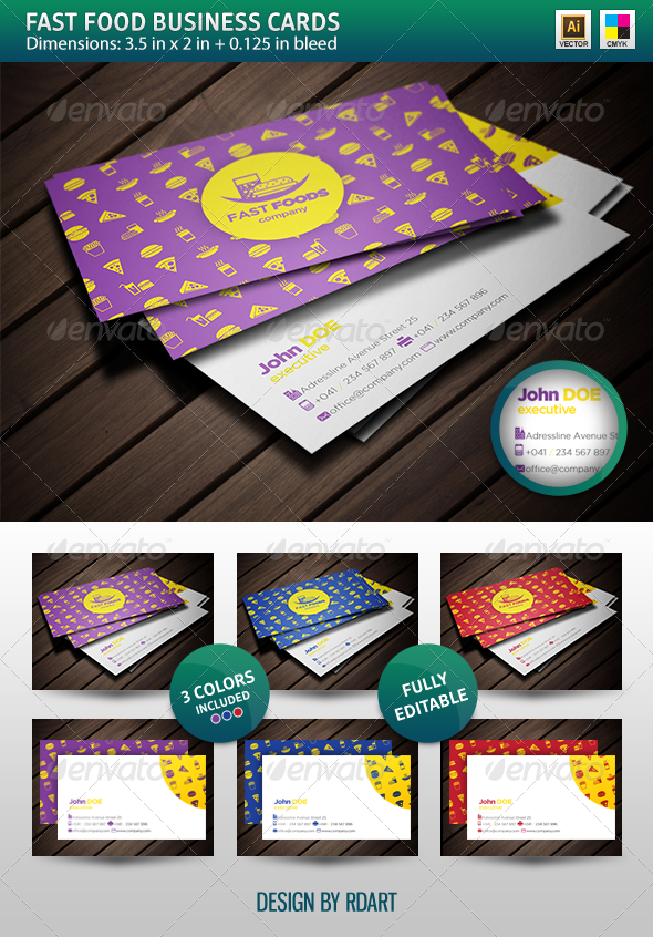 Fast Food Business Cards Templates | Card templates, Business ...