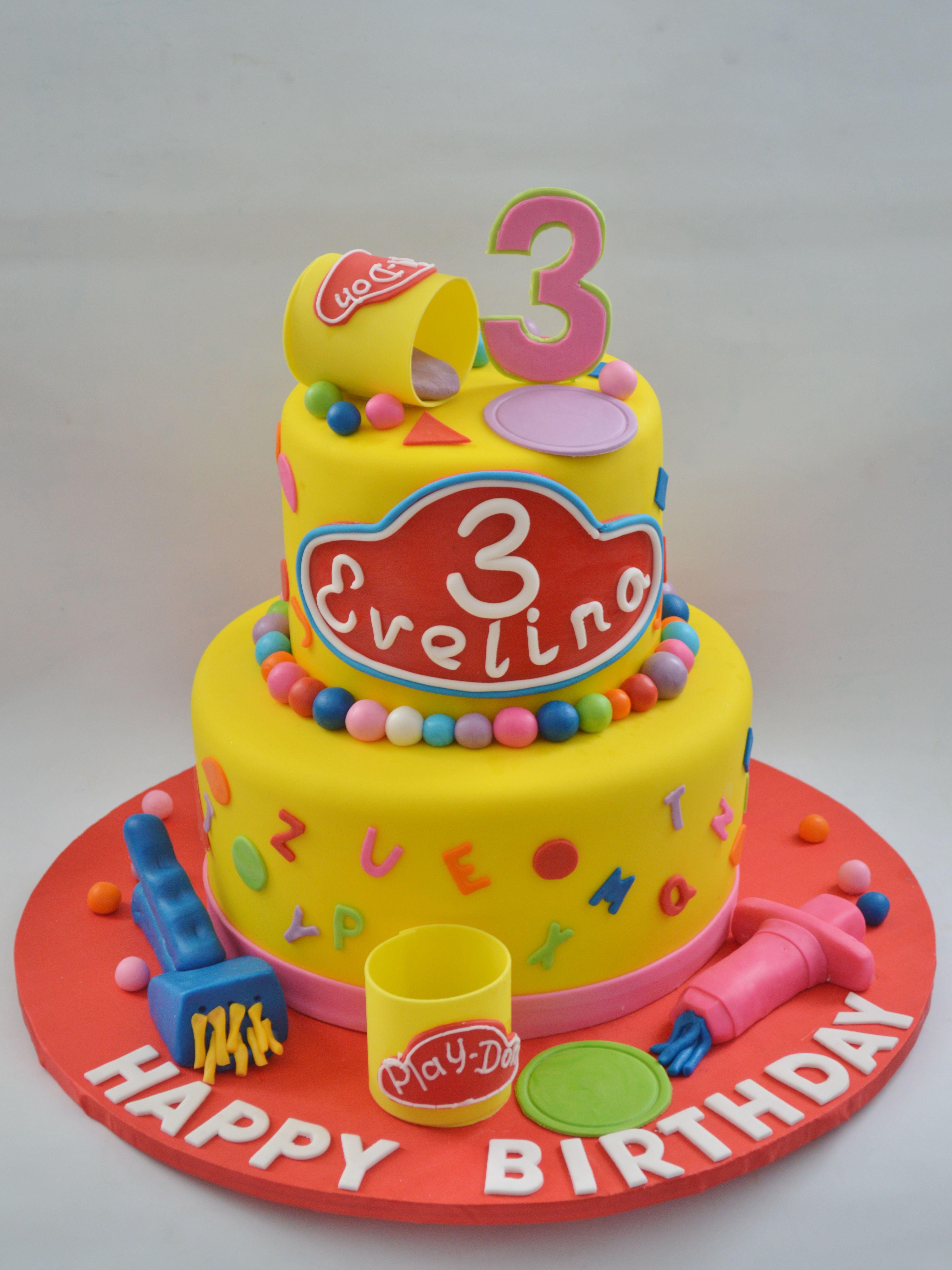 Stupendous Cake Idea Play Doh Party Birthday Cake Kids Birthday Personalised Birthday Cards Veneteletsinfo