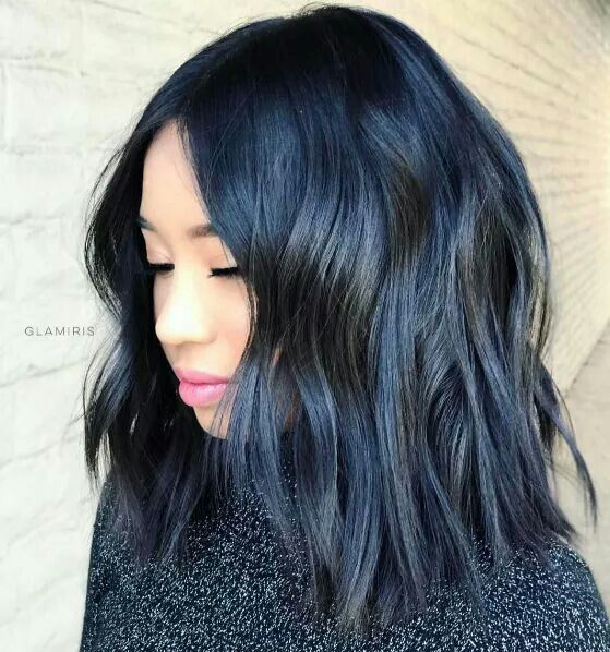 Chopped And Textured Steely Blue Black Lob Hair Color For Black