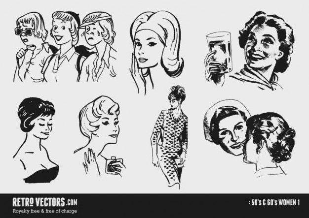 Download 50s And 60s Women For Free Retro Vector Clip Art Vintage Retro Graphics