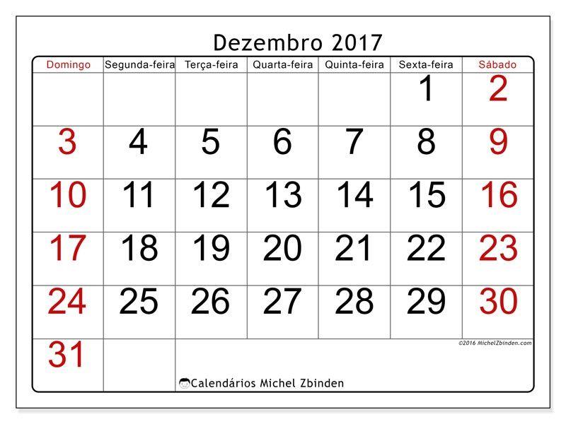 Livre Calendários Para Dezembro 2017 Para Imprimir Calendário