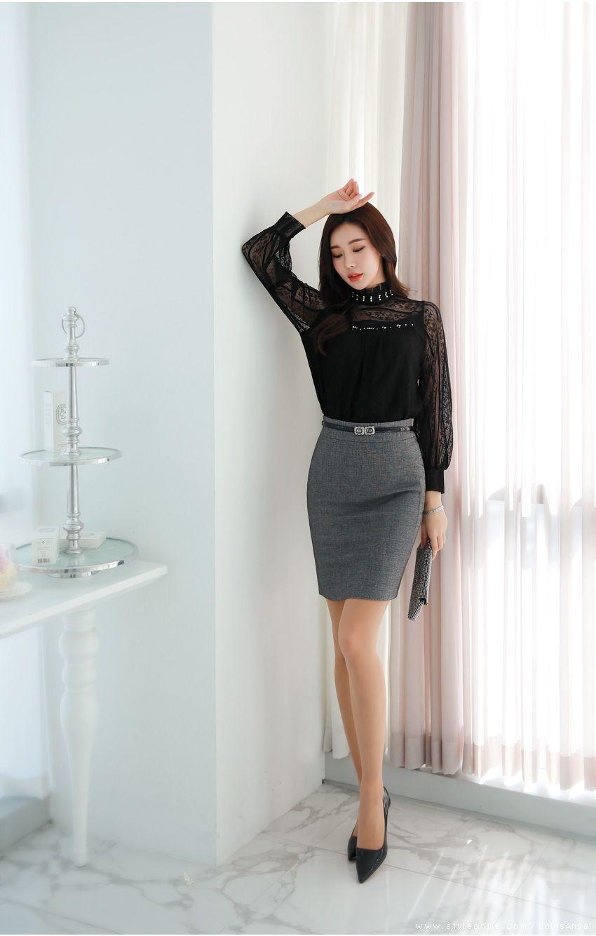 Simple slim fit hline skirt fashion pinterest shopping mall