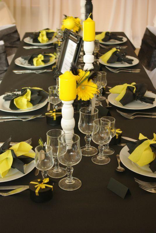 déco de table jaune et noir #2 | baby shower | pinterest | table