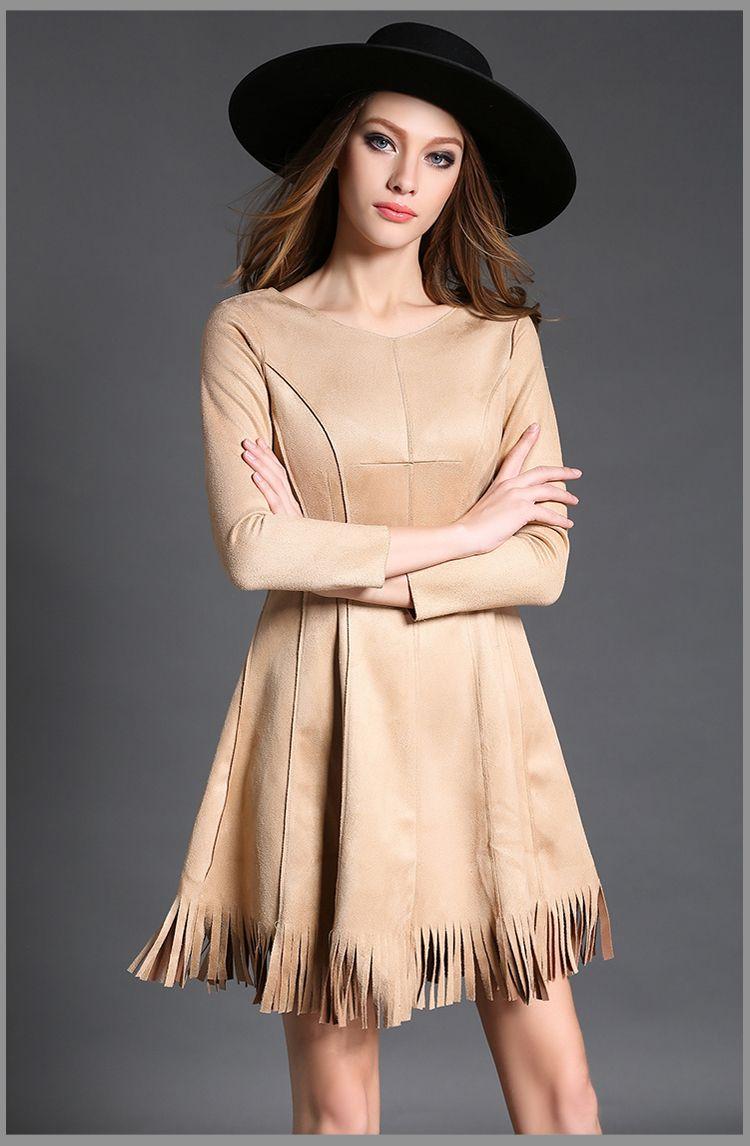097268bdd625 Mulheres vestido de inverno vestido novo inverno high end temperamento  camurça franjas frete grátis alishoppbrasil