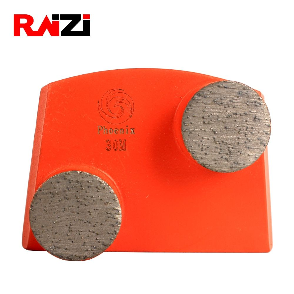 Raizi Medium Metal Bond 30 Grit Diamond Trapezoidal Concrete Grinding Plate Discs For Lavina Floor Grinder Double Button Segm Concrete Grinder Concrete Grinder