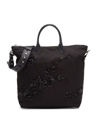 Prada Small Nylon Beaded Tote Bag, Black (Nero)