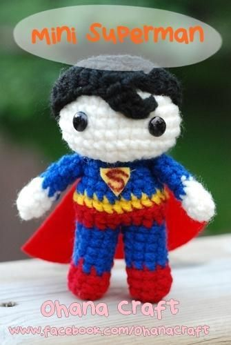 Mini Superman amigurumi crochet pattern https://www.facebook.com ...
