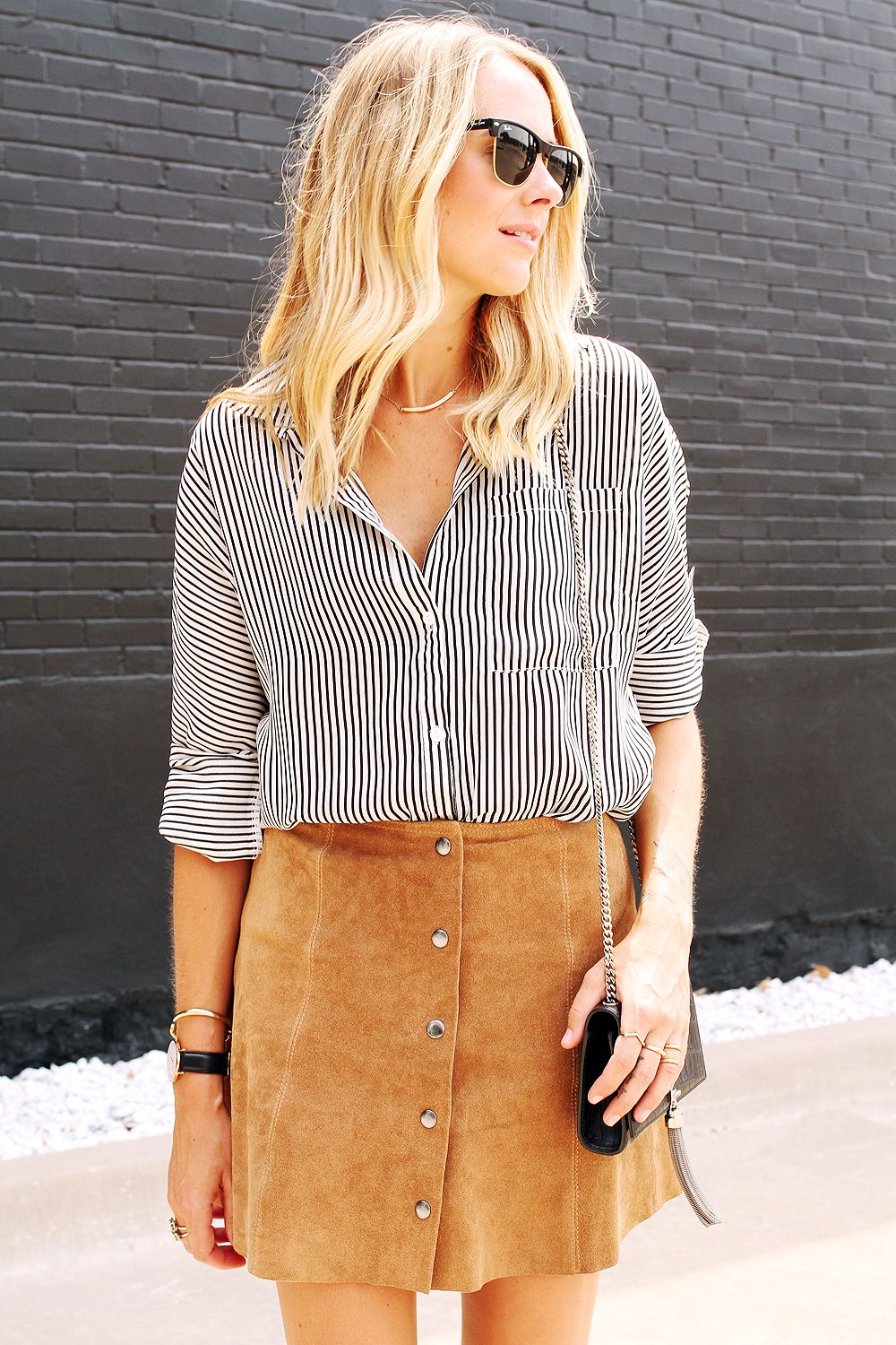 Stripe shirt and button front suede skirt