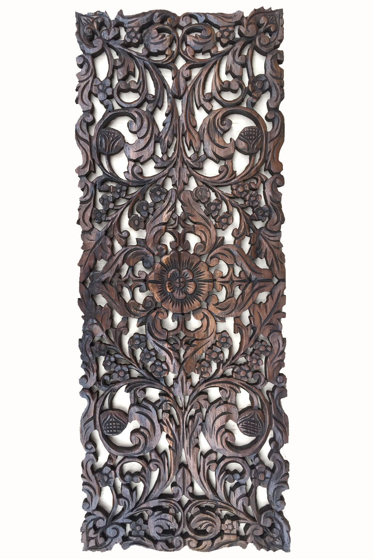 Floral wood carved wall panel asian home decor wall hanging floral wood carved wall panel asian home decor wall hanging decorative headboard relief panel amipublicfo Images