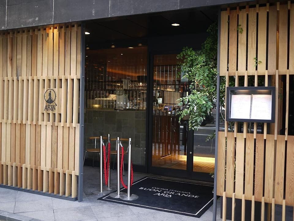 Restaurant Facade love this wooden entrance to restaurant buon grande aria in osaka