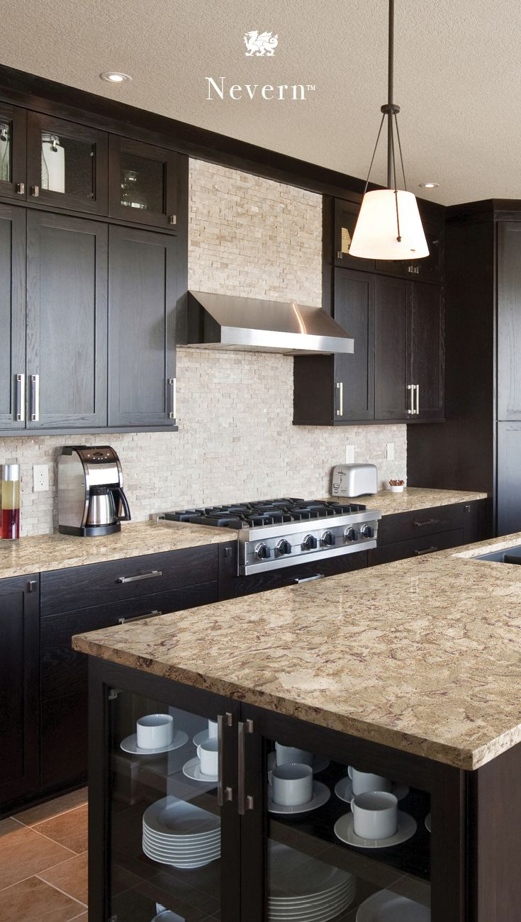 Dark Wood Cabinets Pair With The Cream Taupe And Dusty Brown Tones In Camb Kitchen Cabinet Color Schemes Backsplash With Dark Cabinets Kitchen Cabinet Colors