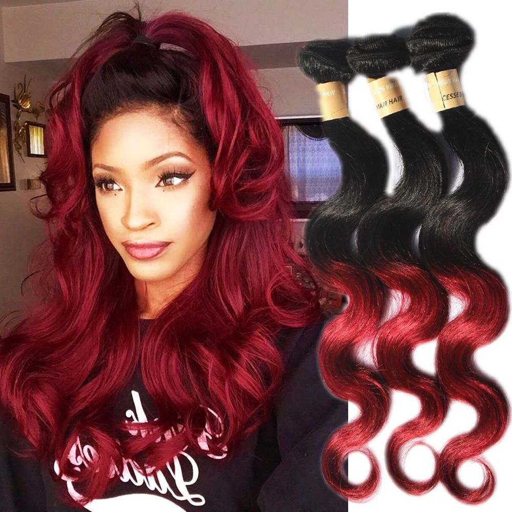 Bundles red tone bburg human hair