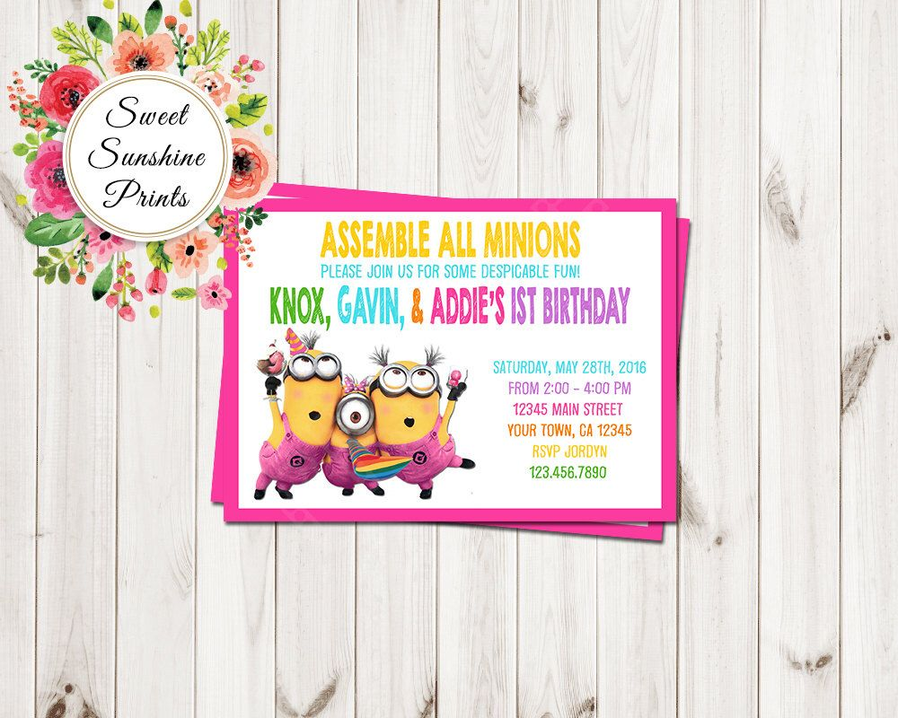 Minions Birthday Invitation, Minions Invite, Minions Movie Invite ...