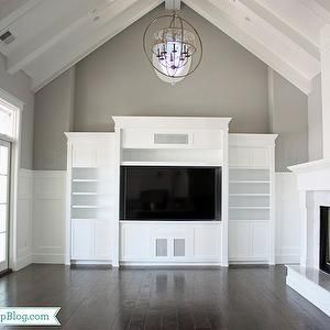 If I Go With White For The Vaulted Ceiling Texture Is Critical Beadboard Built In Entertainment Center Vaulted Ceiling Living Room Transitional Living Rooms