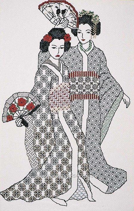 Japanese Woman  Geisha Cross Stitch Kit by Florashell