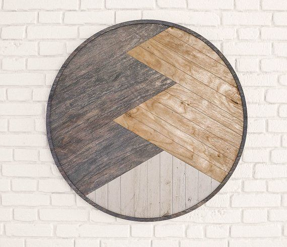 Montana Mountains - Reclaimed Wood Wall Panel- Wood Wall Art Geometric- Round Wood Wall Art Panel- Reclaimed Wood Panel Wall Decor #reclaimedwoodwallart