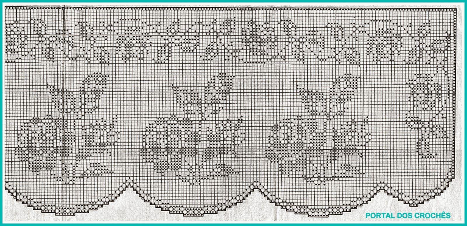 Portal Dos Croch S Cortinas De Croch Com Rosas Crochet Filet
