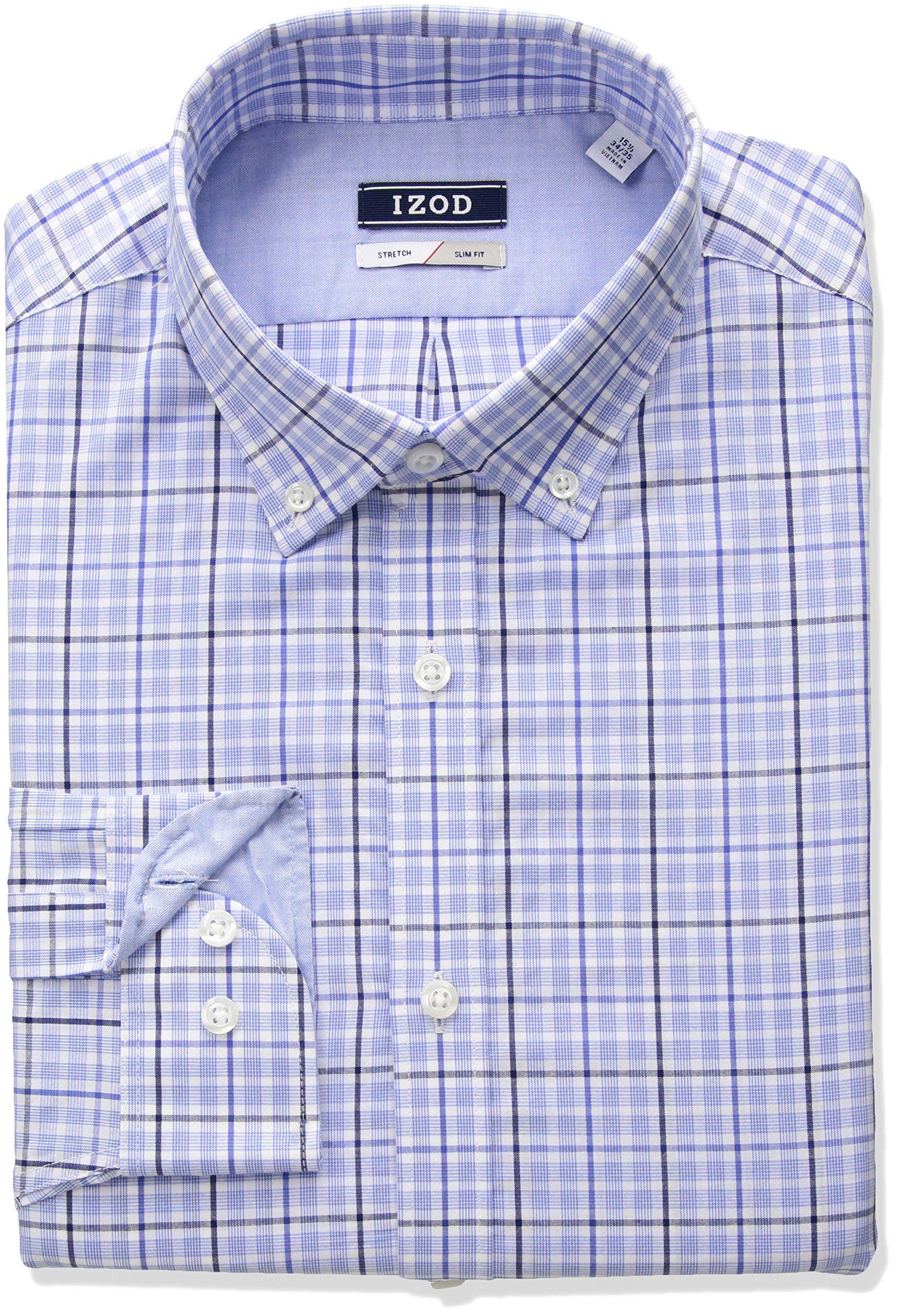 Izod Mens Slim Fit Plaid Buttondown Collar Dress Shirt Bluejay 155