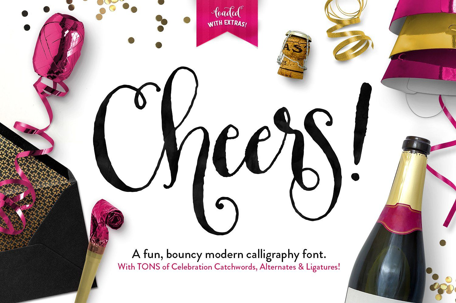 Download Cheers Font & Graphics Pack   Modern calligraphy fonts ...