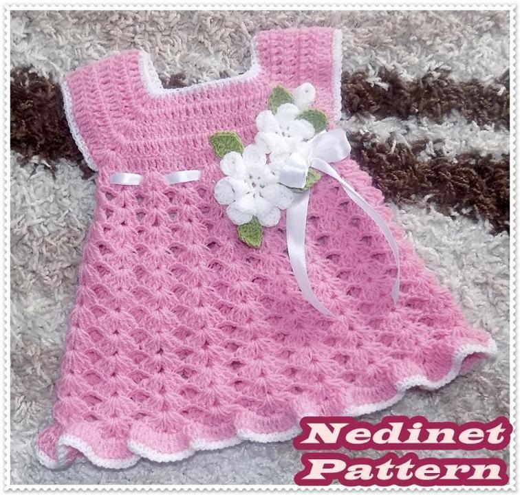 Crochet Baby Dress Pattern With Flower Crochet Baby Dress Pattern