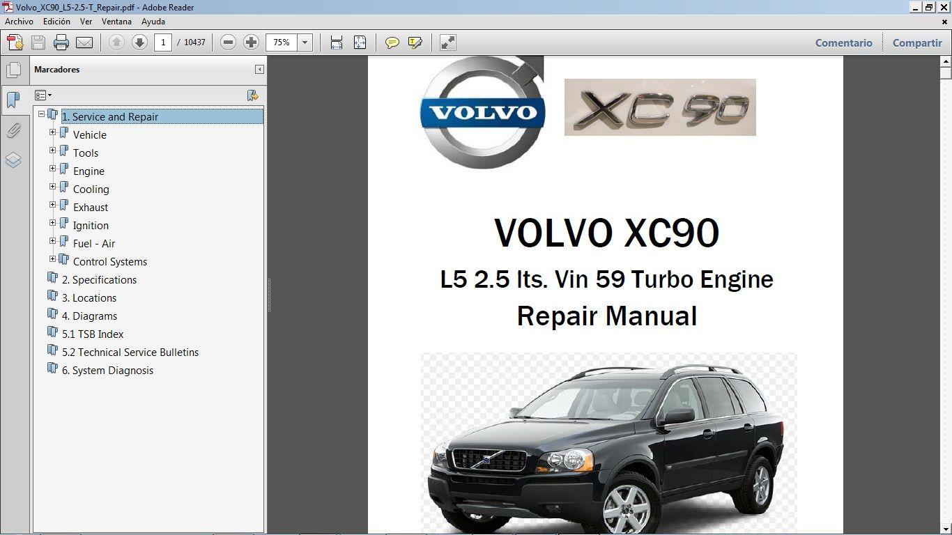 Volvo Xc90 2 5t Workshop Repair Manual Manual De Taller Volvo Xc90 Volvo Repair Manuals